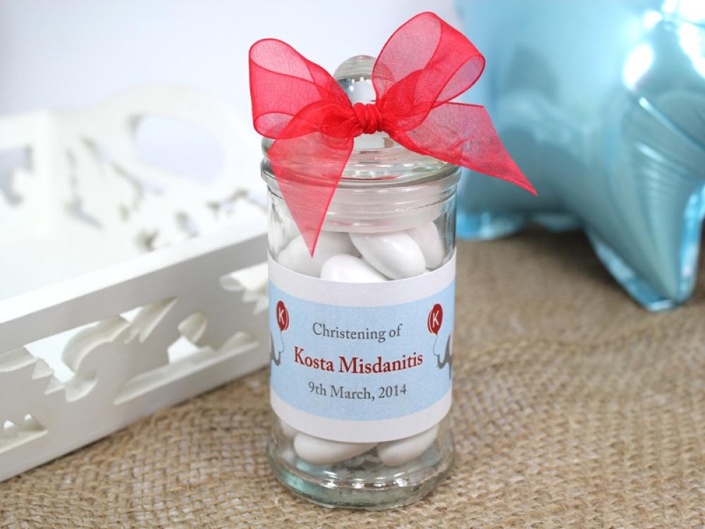 christening new born bomboniere favours personalised glass mini